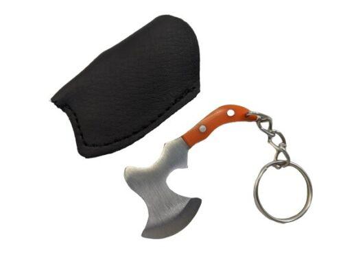 Mini porte-clés Throwing axeOrange Poignée Ax avec gaine EDC Cadeau Porte-clés