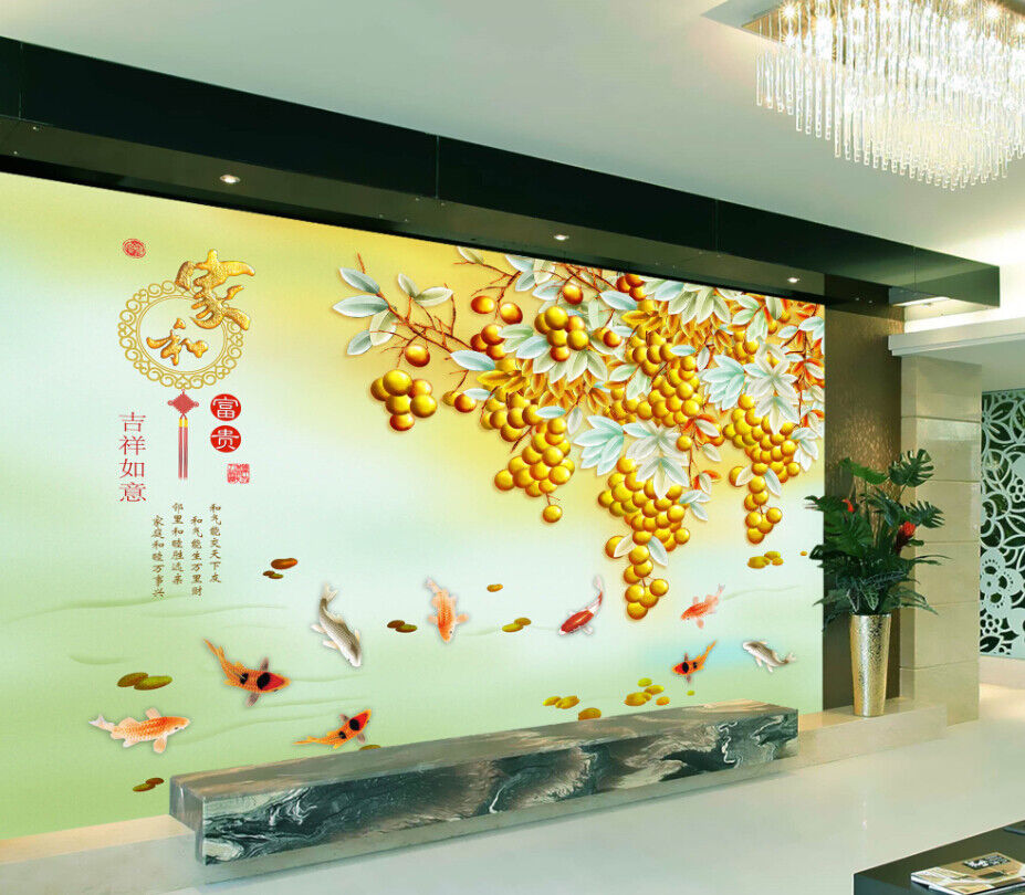 3D Goldene Frucht Fisch 73 Tapete Wandgemälde Tapete Tapeten Bild Familie DE