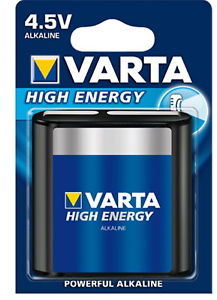 3 x Varta High Energy Flachbatterie 4,5 V, Batterie IEC 3LR12 altes Design