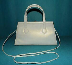 CHARLES JOURDAN sac vintage en cuir blanc  nacré porté main épaule ou travers