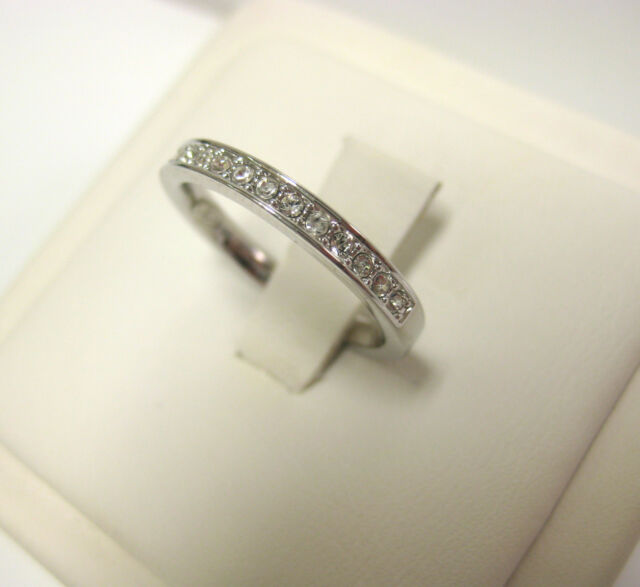 70ef08f101ef RARE CRYSTAL BAND RING SIZE 6 EUR 52 RHODIUM PLATING SWAROVSKI JEWELRY  1121066