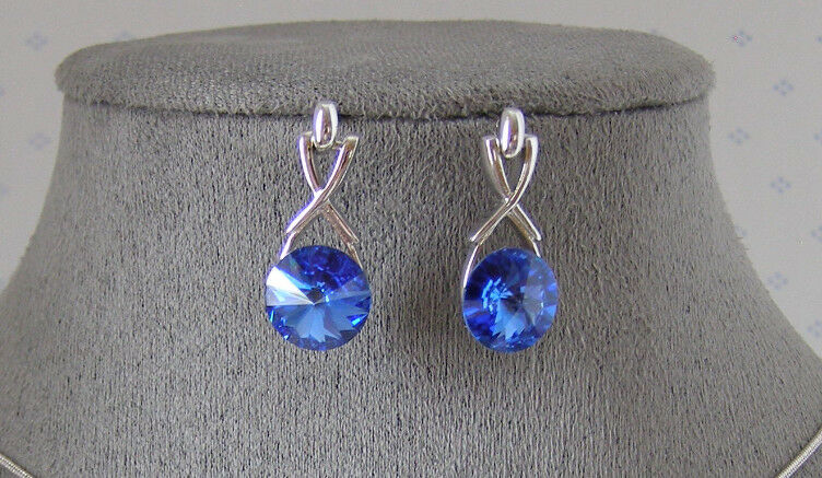 Made with SWAROVSKI CRYSTAL ELEMENTS SAPPHIRE DANGLE EARRINGS PLATINUM FINISH
