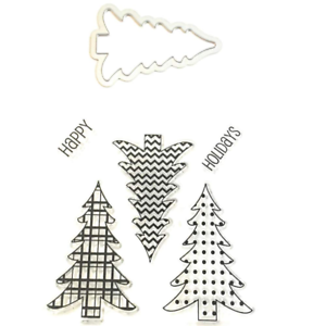 5 /& 1 Christmas Tree Clear Stamps and Die Set