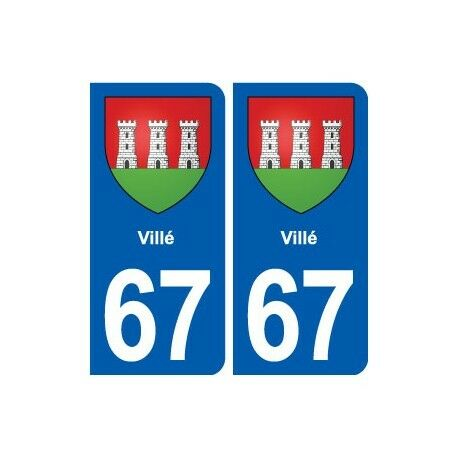 67 Villé blason autocollant plaque stickers ville -  Angles : droits