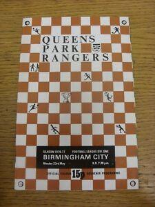 23051977 Queens Park Rangers v Birmingham City Programme Dated 03051977 W - Birmingham, United Kingdom - 23051977 Queens Park Rangers v Birmingham City Programme Dated 03051977 W - Birmingham, United Kingdom