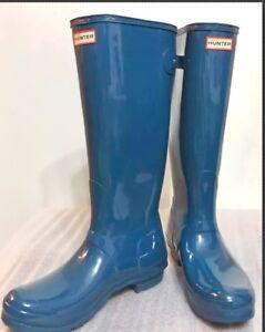 ebd099025f2 New Classic Hunter Tall Glossy Shiny Women Boots Bluegreen Sz 5 Back ...