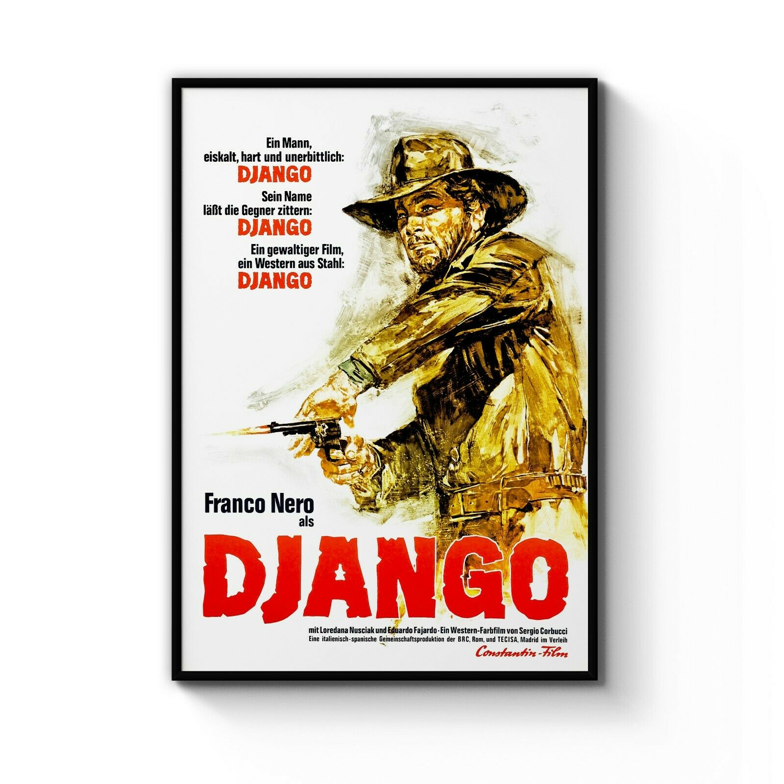 Vintage Django Western Movie Franco schwarz Film Art Poster Print  A4 - B1 Framed