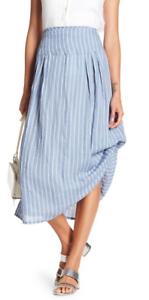 Insight Stripe Linen Midi Skirt bluee S NWT  126