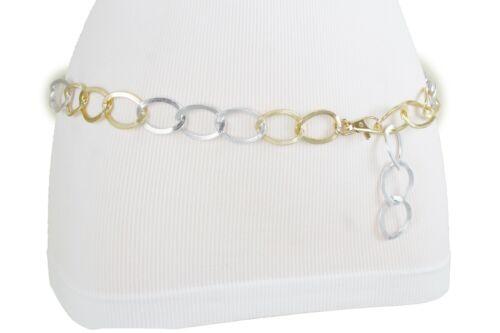 Damen Silber Gold Metallkette Glieder Beste Teenager Spezial Gürtel XS S M L XL