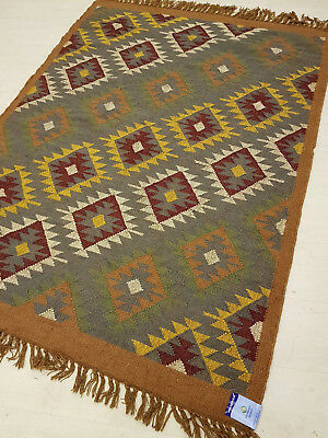 Jute with Wool Gabbeh Kilim Rust Grey 150x215cm Quality Hand Made Reversible rug
