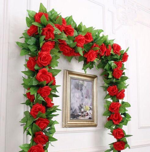 Hanging Artificial Fake Silk Rose Flower Ivy Vine Garland Wedding Home Deco AVUK