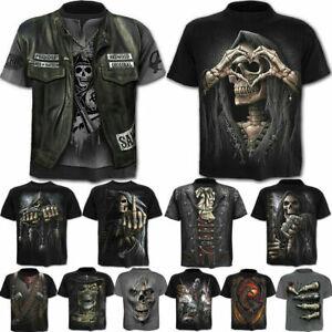 Punk-Men-039-s-Funny-Skull-3D-Print-T-Shirt-Summer-Casual-Short-Sleeve-Tee-Tops