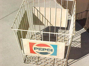 BS1-RARE-vintage-pepsi-rubber-coated-wire-basket-cage-store-display-USED-cond