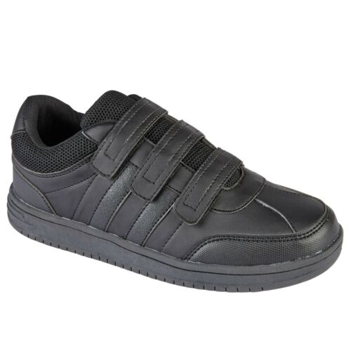 Mens Running Trainer Shoes Boys Black Touch Strap Flat Sports Sneakers Sizes UK