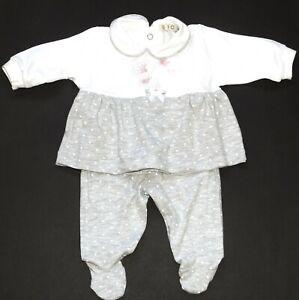 EMC 2tlg Set Kleid Strampelhose Baby Mädchen Grau Weiß ...