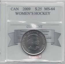 **2009 Women's Hockey**, Coin Mart Graded Canadian, 25 Cent, **MS-64**