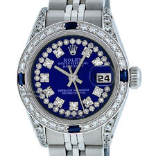 ROLEX LADY DATEJUST WATCH SS & 18K WHITE GOLD BLUE STRING DIAMOND & SAPPHIRE