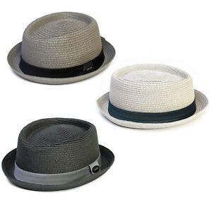 Mens   Ladies Straw Pork Pie Hat Summer Trilby Cap Grey Black Dark ... 98b2564f013