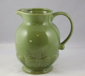 Harry and David Green Ceramic Pitcher with Raised Apples Motif