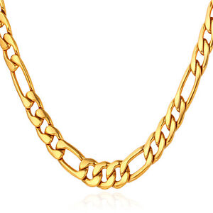 U7 Classic Figaro Link Chain 18k Gold Plated Chain Necklace Men Jewelry 5mm Ebay
