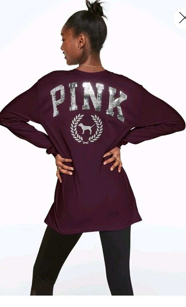 Victoria secret Rosa  large Bling  Campus long Sleeve T Shirt damen