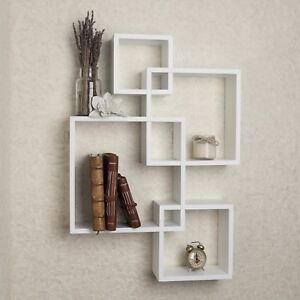 Image Is Loading Intersecting Decorative White Wall Mount Cube Shelves Danya