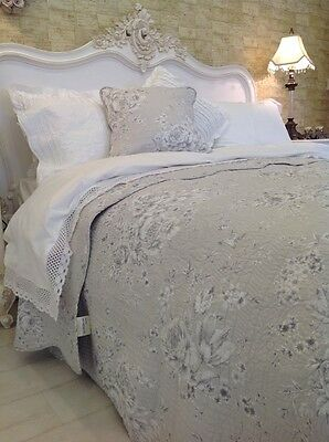 EXQUISITE  SINGLE SOFT GREY FLORAL QUILT 100%  COTTON  FLORAL  FRENCH  STYLE