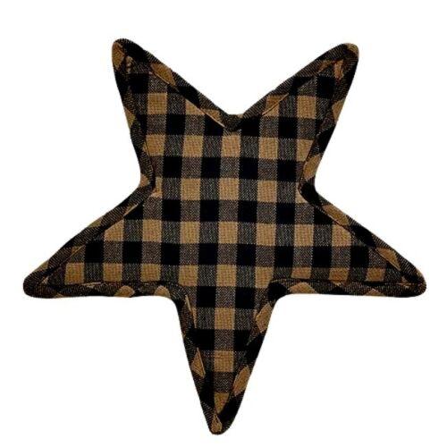 Primitive Farmhouse`Black and Tan `StarTrivet//Candle Mat` Homespun 10 inch
