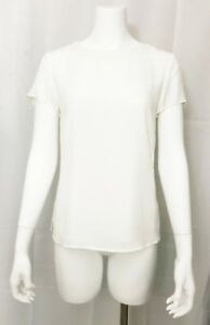 Banana-Republic-Blouse-Short-Sleeve-Top-Exposed-Back-Zipper-Lined-Off-White-sz-6