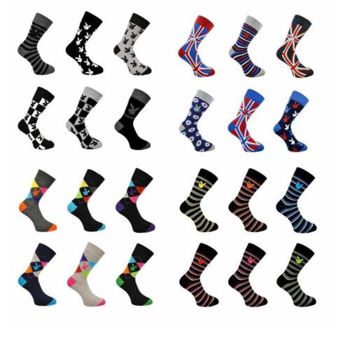 New Mens Teens Office Work 12 Pair Multipack Play boy Mixed Designs Neon Socks