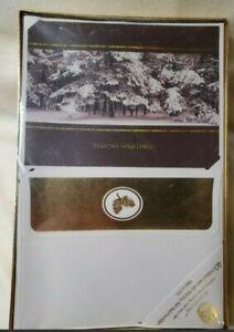 Sealed-Vintage-box-Burgoyne-40-Xmas-Holiday-Greeting-Cards-Glitter-Winter-scene