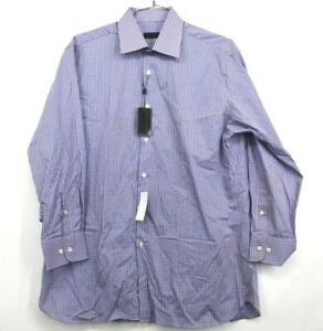 New-Ike-Behar-NYC-Mens-16-5-Large-Pink-Blue-Plaid-Long-Sleeve-Button-Up-Shirt
