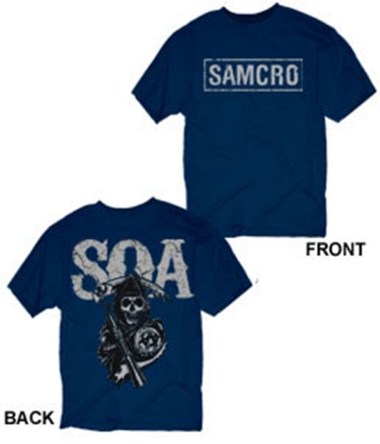 SONS OF ANARCHY SAMCRO FRONT SOA REAPER BACK NAVY T-SHIRT NEW !