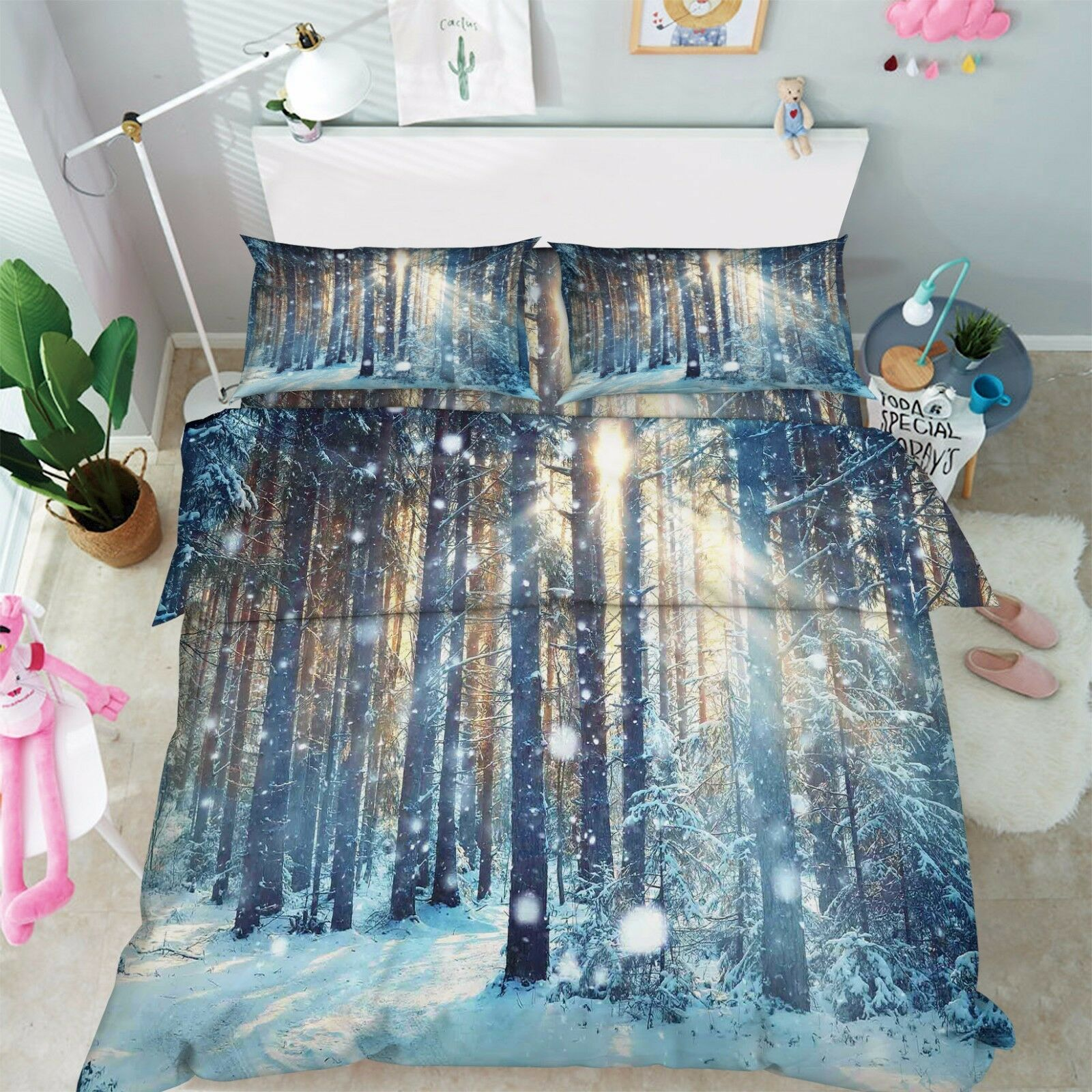 3D Snow Forest 1 Bed Pillowcases Quilt Duvet Cover Set Single Queen King Dimensione AU