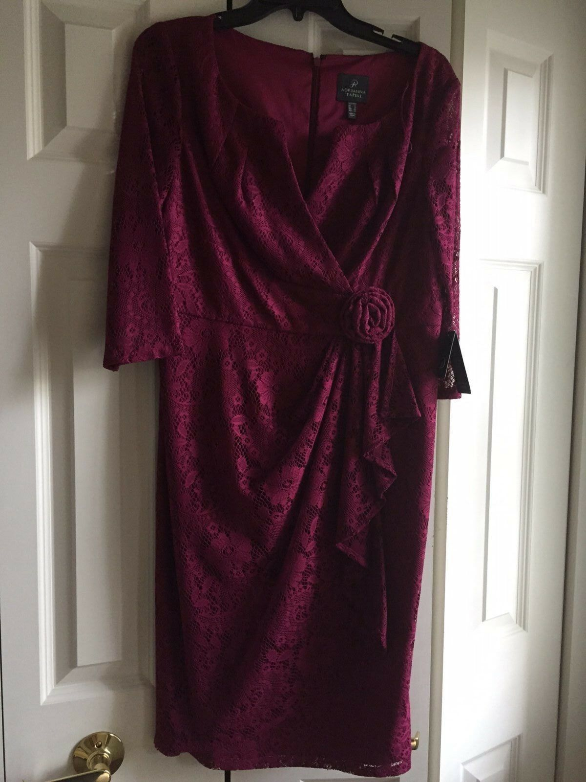 ADRIANNA PAPELL  Formal evening SIZE 10 LACE DRESS magenta modest long sleeves