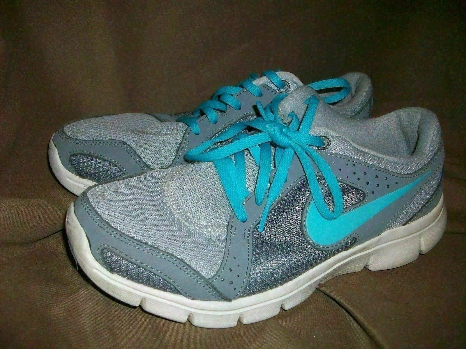 (USED WORN) NIKE FLEX EXPERIENCE RN 2 RUNNING SHOES GREY TURQUOISE WOMENS SZ 7.5