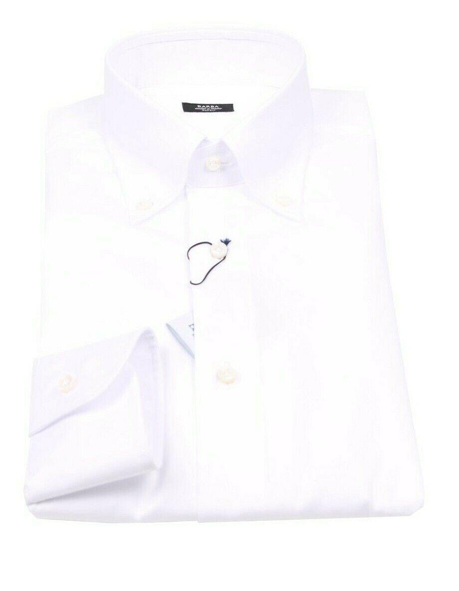 NEW Barba Napoli button down oxford hemd Größe 43 (US 17) Weiß slim fit