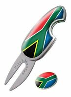 Golf Pitch Mark Repairer With Magnetic Ball Marker South Africa Flag Divot Tool