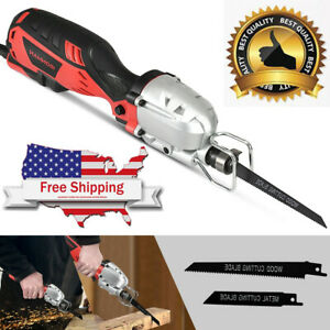 Details About Electric Mini Reciprocating Saw With 2 Blades Wood Metal Cut Tool Handheld