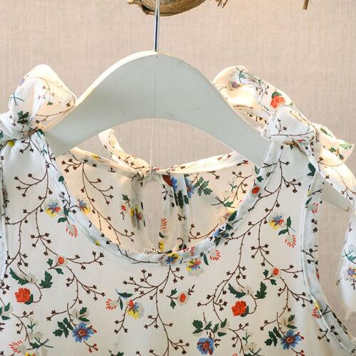 Toddler Baby Kid Girl Summer Sleeveless Ribbons Bow Floral Dress Princess Dress