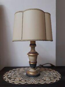 Lampada Da Tavolo Classica Oro Artistico Fiorentino Shabby Legno Abat Jour H 48 Ebay