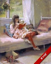 YOUNG GIRL READING W PUPPY AT WINDOW OIL PAINTING ART REAL CANVAS GICLEEPRINT
