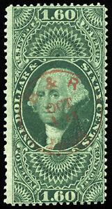 v8-U-S-Revenue-Scott-R79c-1-60-Foreign-Exchange-red-handstamp-cancel-CV-180