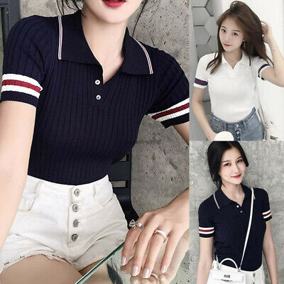 Summer Korean Womens Ladies Short Sleeve Slim Fitted Stretch T Shirt Blouse Tops