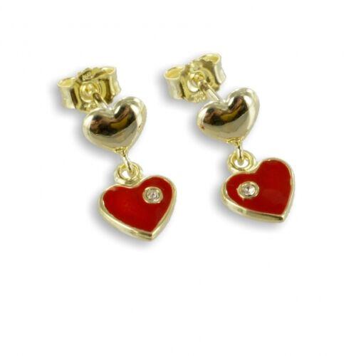 Real de oro 333 chicas corazón rojo ohrpendel pendientes con piedra niños aretes