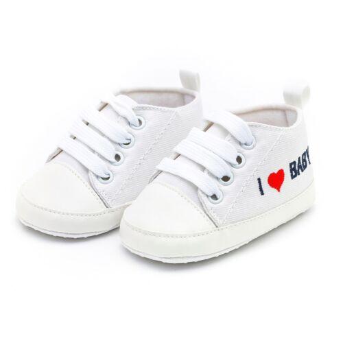 Nouveau-né Bébé Garçons Filles Cœur Lettre Imprimé Semelle Souple Décontracté Coton Chaussures
