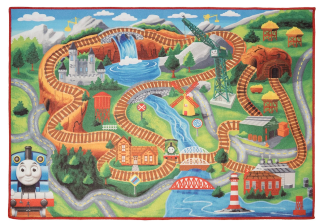 Gertmenian Thomas and Friends Rug HD Kids Play Mat Toy Train Small-One Car Multi-Color 32 x 44