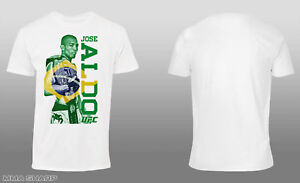 UFC-Men-039-s-Jose-Aldo-UFC-189-Flag-Tee-Shirt-White-2X-Large
