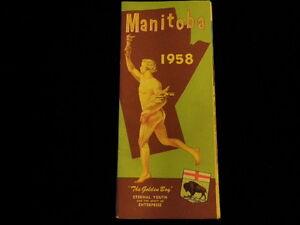 Vintage 1958 Official Manitoba Canada Highway Road Map  Unused? Great