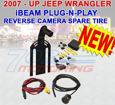 EWAY for Jeep Wrangler JK 2007-2018 Backup Rear View Spare Tire Adjustable Mount Camera Reverse Parking Aftermarket Camera with Radio Input RCA Harness AV Cable